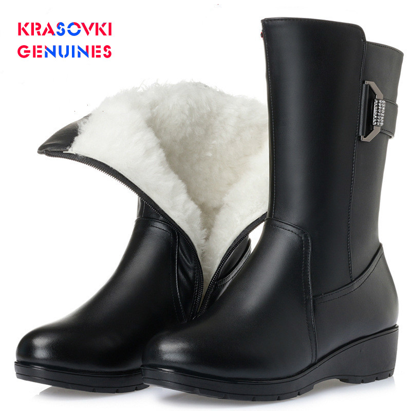 Krasovki Genuines Wool Women Snow Boots Warm Fur Warm Shoes Genuine Leather Plush Med Boots Platform for Women Winter Boots