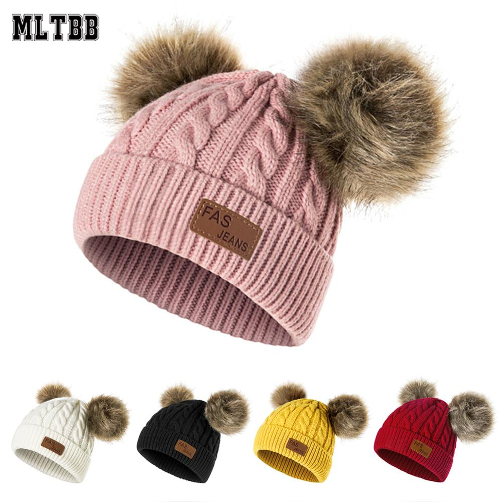 MJ-Young Girl Warm Ski Big Fur Pom Poms Ball Knitted Hats Scarf Hat Winter Women Beanie Hat