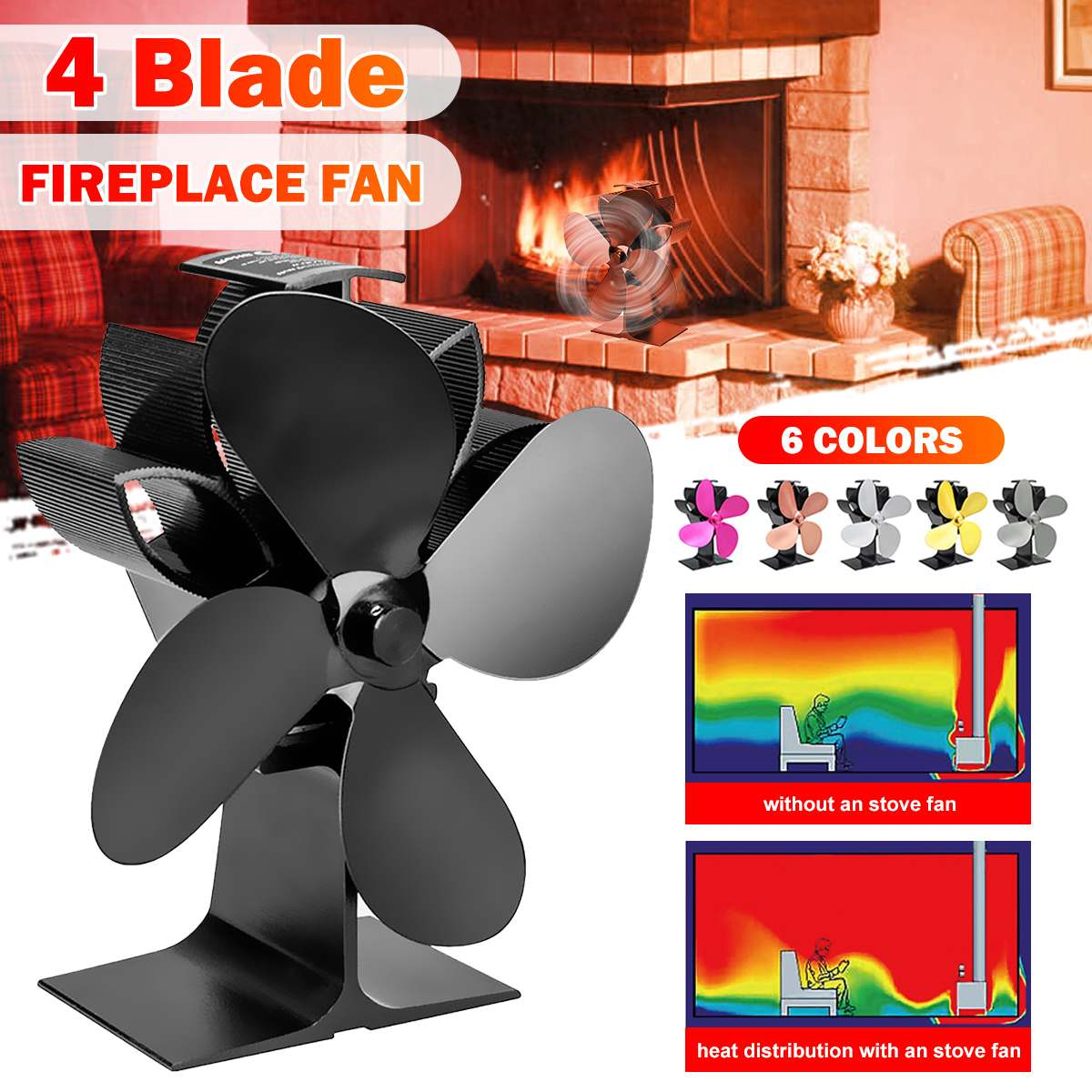 Multicolor Fireplace 4 Blade Heat Powered Stove Fan Komin Log Wood Burner Eco Silent Fan Home Efficient Heat Distribution