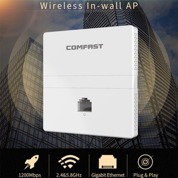 COMFAST CF-E538AC 1200Mbps dual band Wireless in wall AP 5Ghz gigabit AC wifi Router With 1/10/100/1000Mbps WAN / LAN RJ45 Port 2018 comfast gigabit ac gateway routing 4 ports poe power supply multi wan access with 5 1000mbps port traffic control ap switch