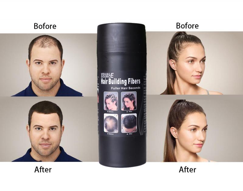 Fibra de construção de cabelo unisex 3 cor queratina mais grosso cabelo denso cobrir a perda de cabelo recarga mais completo natural espessamento fibra cabelo em pó