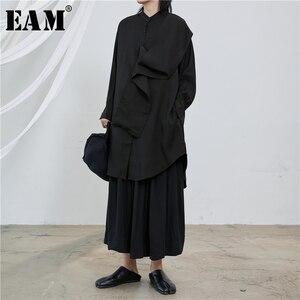[Eam] feminino branco dividir tamanho grande blusa longa nova gola manga longa solto ajuste camisa moda maré primavera outono 2020 1t229