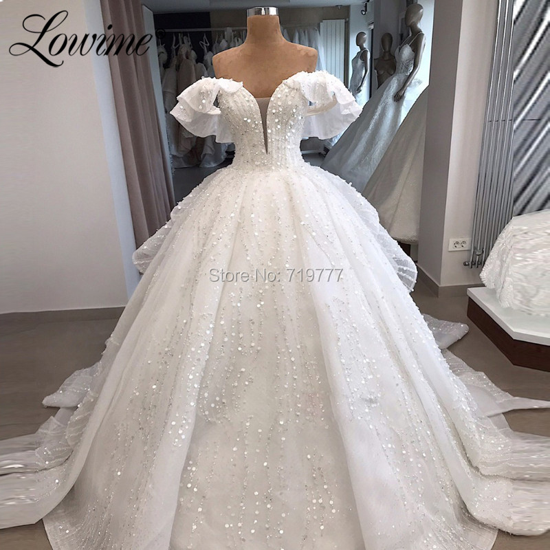 Muslim Off The Shoulder Wedding Dresses White Bridal Gowns Robe De Mariee Arabic Custom Pearls Sequins Dubai Bride Dress