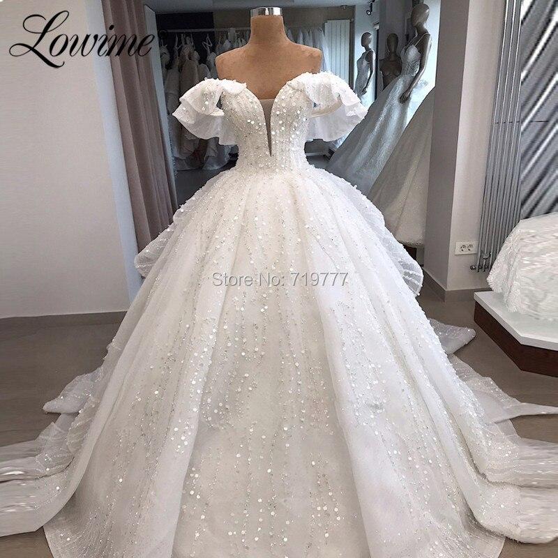Muslim Off The Shoulder Wedding Dresses White Bridal Gowns Robe De Mariee Arabic Custom Pearls Sequins Dubai Bride Dress