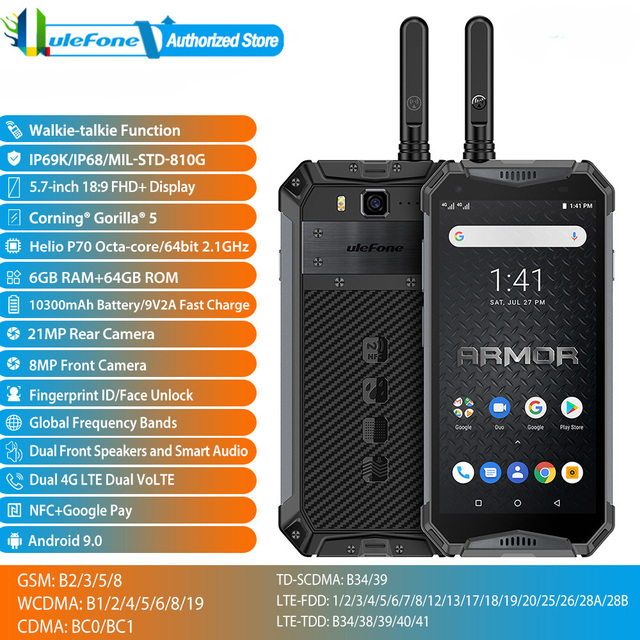 Global Band Ulefone Armor 3WT Fast Charge Phone Waterproof NFC Google Play Android 9.0 5.7inch Fingerprint Dual SIM Smartphone