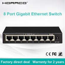 8 Port RJ45 Gigabit Ethernet Switch DC5V1A Desktop 10 100 1000M Network Lan Hub Switch cheap HORACO 10 100 1000Mbps CE FCC ROHS 16Gbps Full-Duplex Half-Duplex 2 Years Support