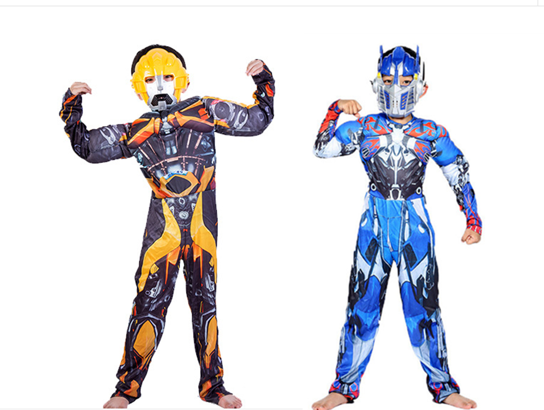 Kids Muscle Costume Cosplay Avengers Optimus Prime Hornet Tights Superhero Halloween Costume Boys Girls Christmas Rally Set