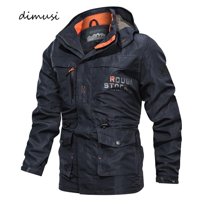 DIMUSI Autumn Winter Mens Bomber Jackets Casual Men Outwear Windbreaker Hooded Coats Man Army Military Baseball Jackets Clothing