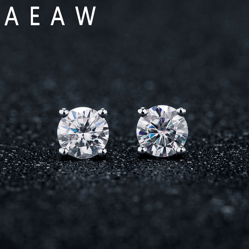 AEAW 0.5 Carat Moissanite Gemstone Stud Earrings for Women Solid 925 Sterling Silver D color Solitaire Fine Jewelry and 10K gold Stud Earrings  - AliExpress