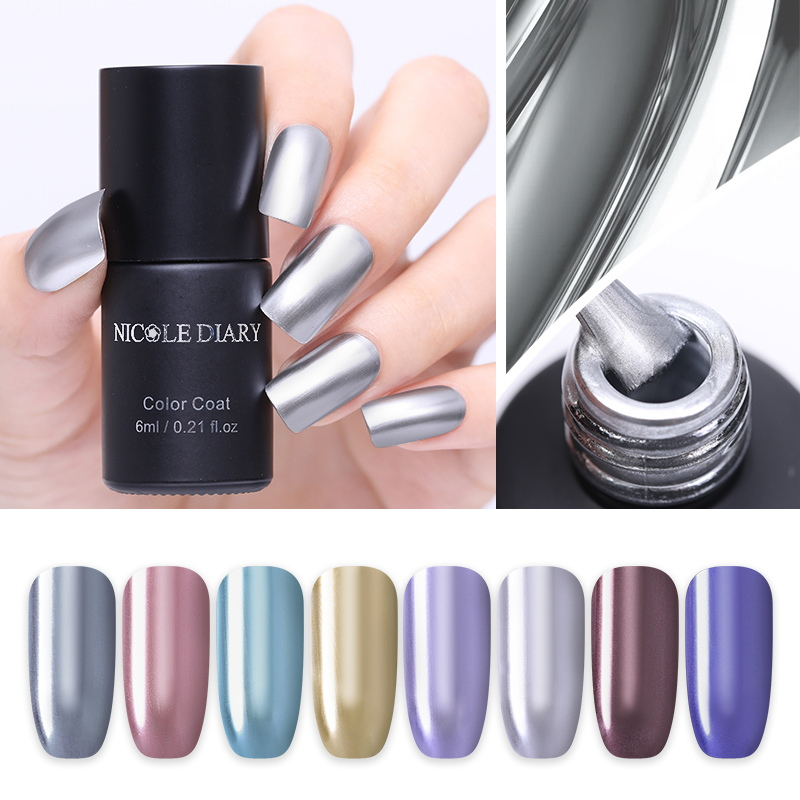 NICOLE DIARY Metallic Nail Gel Polish Glitter Shinning Sequins UV LED Painting Gel Lacquer Primer Varnish For Manicure