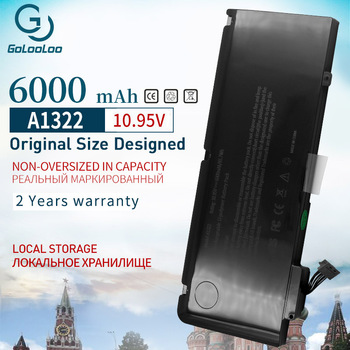 Golooloo 6000mAh 65.7Wh A1322 New Laptop Battery For Apple MacBook Pro 13 A1322 A1278 Mid ( 2009-2012 year ) MB990LL/A 10.95V apexway a1322 6000mah laptop battery for apple macbook pro 13 a1278 mid 2009 2010 2011 2012 mb990ll a mb991ll a