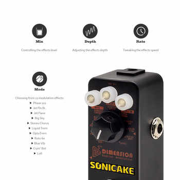 SONICAKE 5th Dimension Digital Modulation Effects Pedal w/h 11 Effects of Phaser,Flanger,Chorus,Tremolo,Vibrato,Autowah Sampling