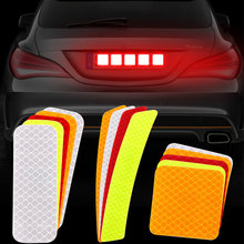 2pcs Warning Mark Car Reflective Tape Door Bumper Stickers Strip Safety Light Reflector Auto Safety Universal Car Accessories(China)