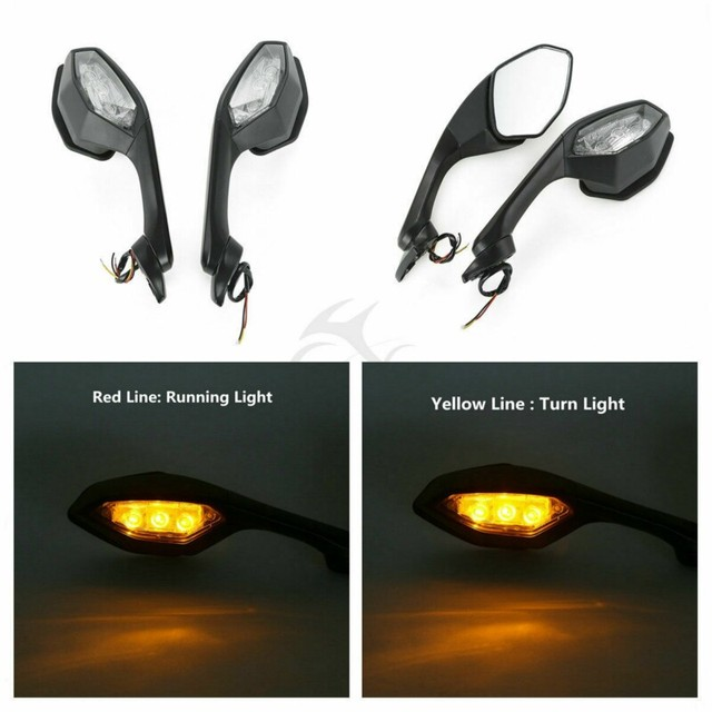 Motorcycle Rearview Side Mirrors LED Turn Signal Light  1