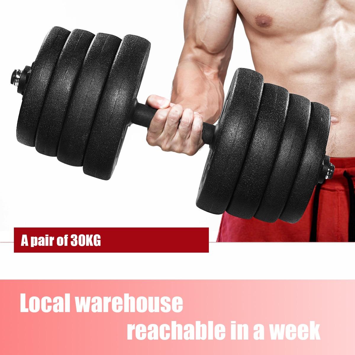 Um par de 30 kg peso haltere conjunto ginásio halteres placas sólida haltere força treino de borracha-revestido halteres equipamentos de fitness