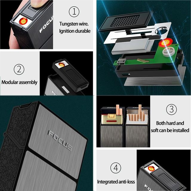 Portable Cigarette Case with Lighter 20pcs Cigarette Capacity Holder USB Rechargeable Electric Lighter Smoking Box Accessories 3
