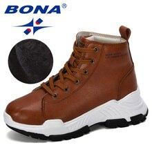 BONA 2019 חדש מעצבי מיקרופייבר שלג מגפי נשים קצר קטיפה מגפי גבירותיי מגפי קרסול חם נעלי חורף Feminimo טרנדי