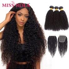 Miss rola pacotes de cabelo peruano com fechamento kinky encaracolado 3 pacotes com 4*4 fechamento 100% extensões do cabelo humano remy