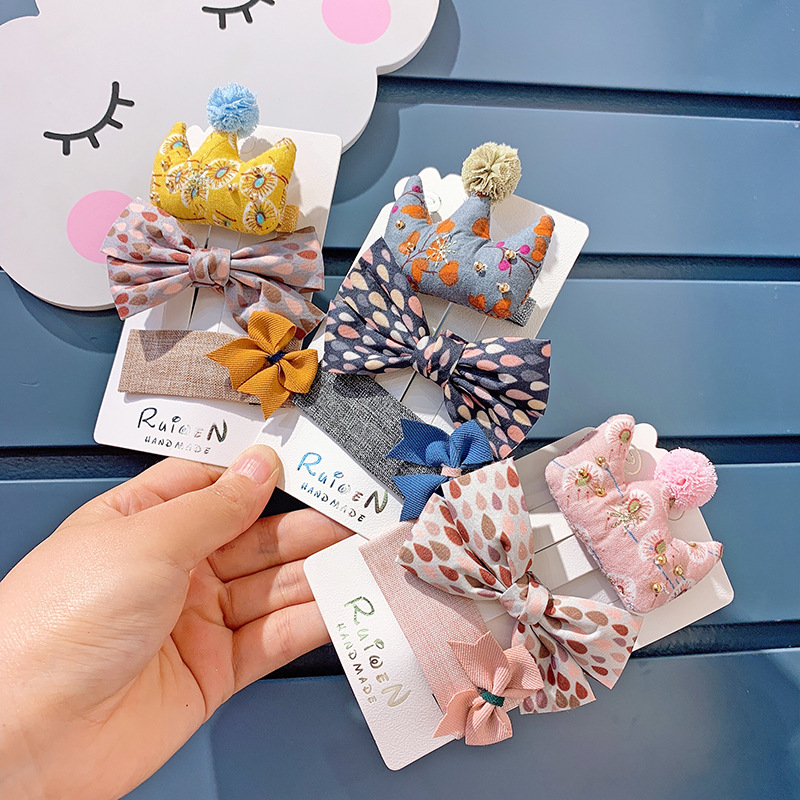Children's Korean Hair Accessories Girl's Bowknot Hairpin Set Baby's Headdress Combination Sweet Leather Band Hairpin Hair Pins