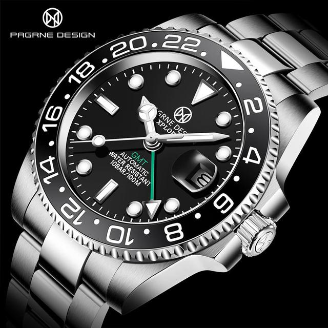 PAGRNE DESIGN Mens Watches Fashion GMT Brand Luxury Business Automatic Mechanical Watch Men Waterproof Watches Relogio Masculino 1