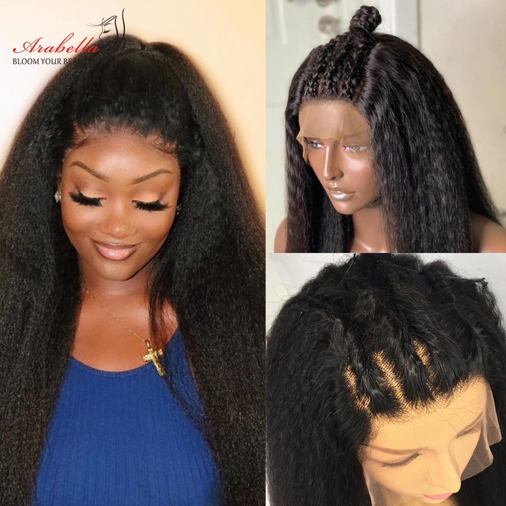 Kinky Straight Wig   13*4 Lace Front Wig With Baby Hair Pre Plucked Arabella  Yaki Closure Wig Glueless 1
