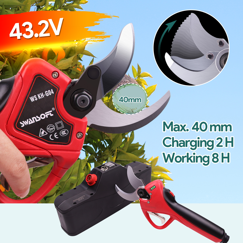 SWANSOFT 2021 New electric pruning shears fruit tree Output voltage 42 3V battery pruner Cut-proof finger scissors
