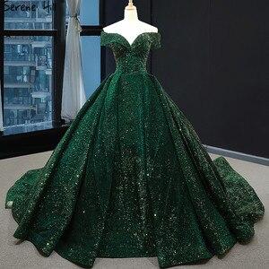 Image 4 - أحدث تصميم الأخضر قبالة الكتف حجم كبير فستان الزفاف 2020 بلا أكمام فاخر الدانتيل الترتر فستان زفاف BHM66742 كوتور