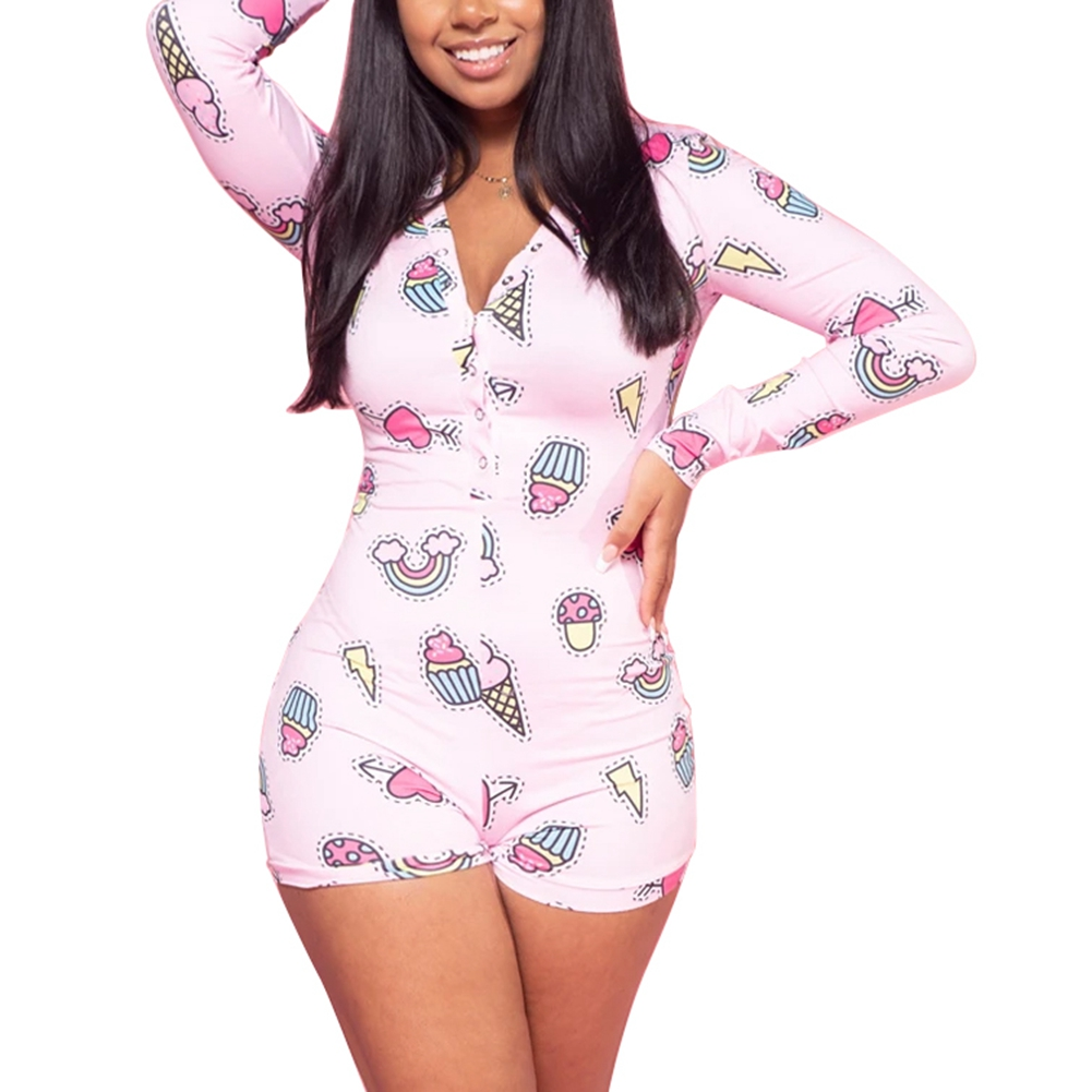 Hirigin 2020 Sexy Women Sexy Sleepwear Bodysuits Deep V-neck Pattern Print Bodycon Button Shorts Romper Long Sleeve  Bodysuit