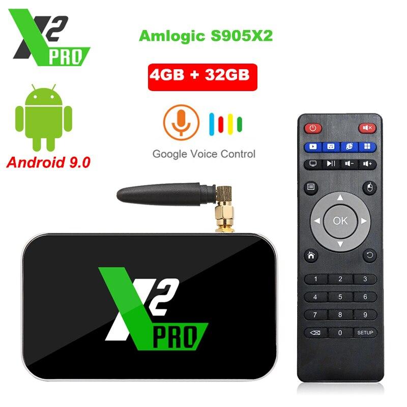 X2 Pro Boîte de TÉLÉVISION Android 9.0 4 GO RAM 32 GO Smart TV Amlogic S905X2 X2 cube 2GB 16GB Décodeur 2.4G/5G WiFi 1000M 4K Lecteur Multimédia