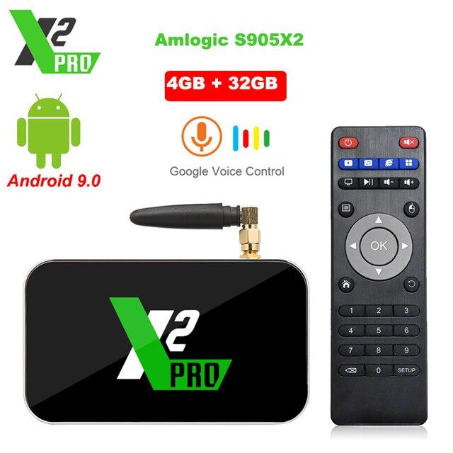 X2 Pro TV Box Android 9.0 4GB RAM 32GB Smart TV Amlogic S905X2 X2 cube 2GB 16GB décodeur 2.4G/5G WiFi 1000M 4K lecteur multimédia