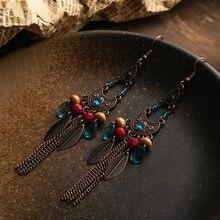 Vintage Boho opadające kolczyki z długimi frędzlami kolorowe koraliki etniczne kolczyki dla kobiet dziewczynki moda indyjska biżuteria akcesoria 2019