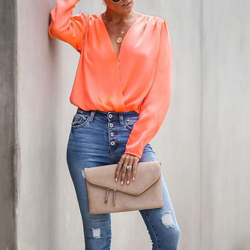 Autumn Women Shirts Office Lady Blouses Long Sleeve V Neck Ruched Solid Chiffon Blouse Tops V Neck Wild Blusas in Blouses amp Shirts from Women 39 s Clothing