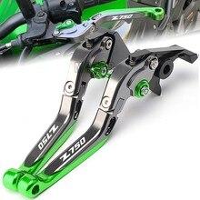 CNC-palancas plegables extensibles para motocicleta Kawasaki Z750, palanca de embrague de freno con logotipo, 2007, 2008, 2009, 2010, 2011, 2012, 2013