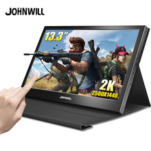"13.3 ""po Monitor 2K TouchScreen LCD Raspberry Pi 1080p IPS Tragbare USB Gaming Monitor Computer für PS4 xbox360 mit Fall"