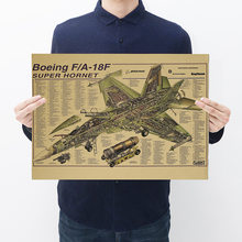 [H054] F18 Super Hornet Machines Figuur Kraftpaper Poster Retro Poster Bar Decoratieve Schilderkunst(China)