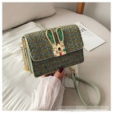 Yaphlee The new 2019 fall on the fashion Korean version of small square buns rabbit ears decorated sweet slung womens bags