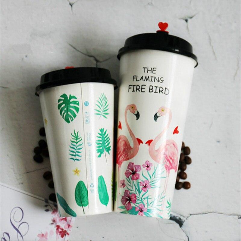 50pcs haute qualité flamingo jetable tasse à café 500ml 700ml net rouge lait thé papier tasses froid boisson chaude verre avec couvercles