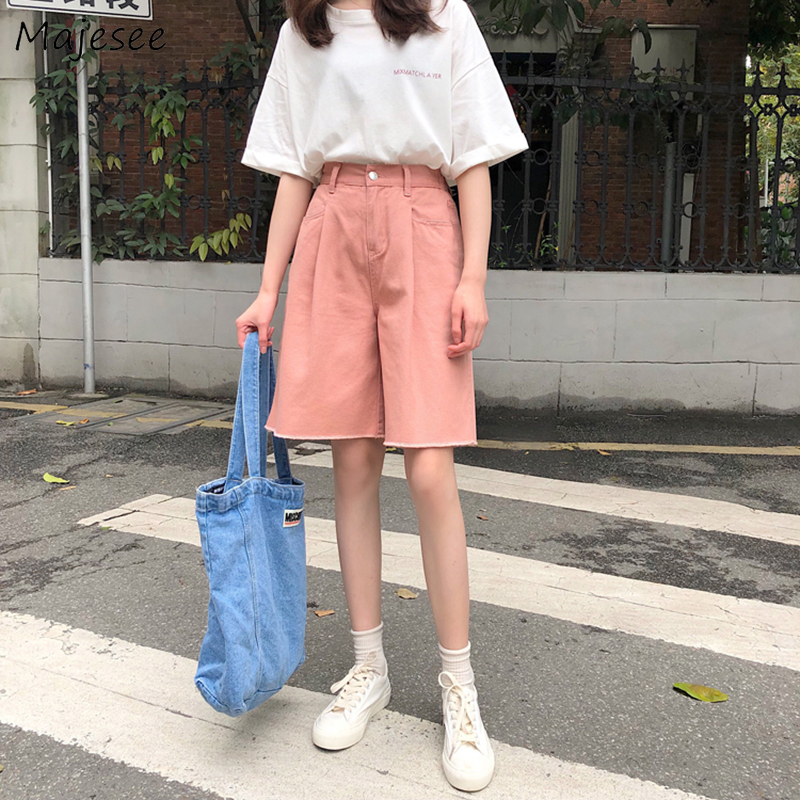 Shorts Women Pink Kawaii High Waist BF Harajuku Korean Style Student Button Pocket Causal Loose Solid Simple All-match Womens