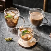 Tazza di vetro trasparente latte whisky tè birra doppio creativo resistente al calore tazza di caffè Espresso Cocktail Vodka tazza di vino bicchieri