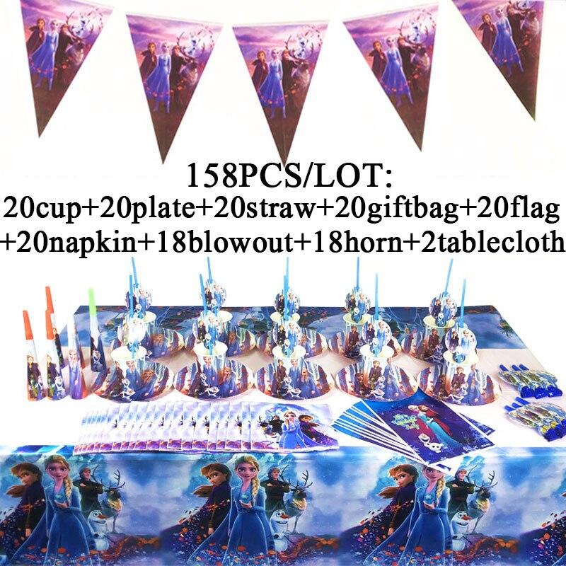 Elsa Anna Frozen 2 suministros de decoración para fiestas vajilla desechable conjunto de feliz cumpleaños para niñas princesa tazas de fiesta platos Banner