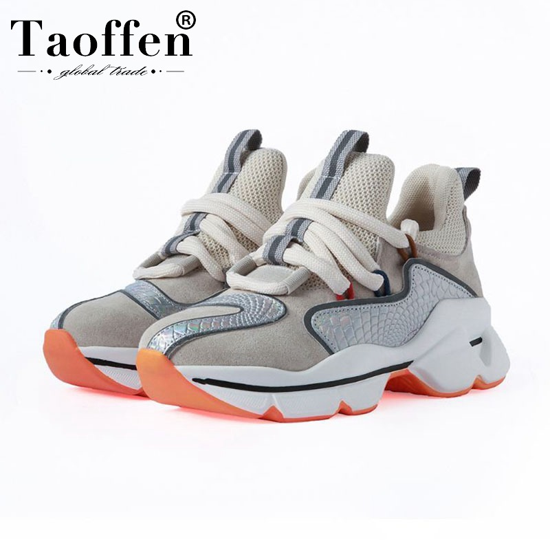 Taoffen 2020 Ins Hot Ladies Genuine Leather Luxury Brand Women Sneakers Autumn Round Toe Colorful Shoes Women Size 35-40