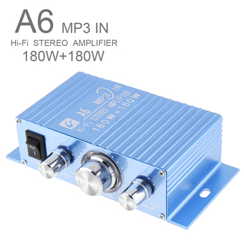 A6 DC12V 2.0 Two Channel MP3 in Hi-Fi Stereo Amplifier 180W+180W with 3.5AUX Interface for Car/PC/Speakers/Motorcycle/Subwoofer mini 12v hi fi 2 channel car auto stereo audio amplifier amp for motorcycle subwoofer