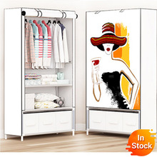 Delivery  normal storage furniture When the quarter wardrobe DIY Non-woven fold Portable Storage Cabinet bedroom furniture