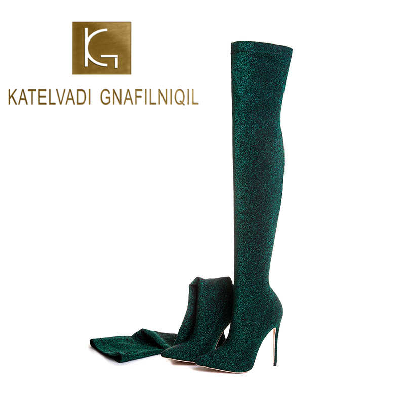 KATELVADI 6 Colors Thigh High Boots Female Winter Boots Women Over the Knee Boots Stretch Sexy Fashion Shoes K-588