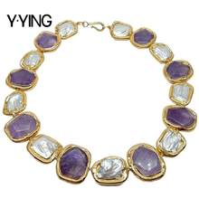 Y·YING natural Cultured Rectangle White Keshi Pearl Amethysts With Gold color Plated Edge choker Necklace 19