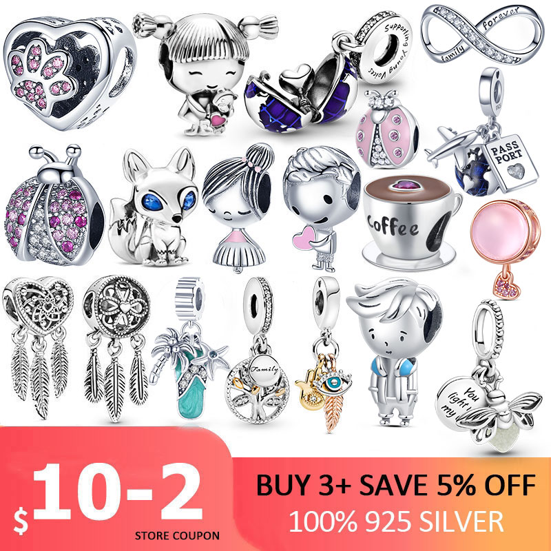 100% 925 Sterling SILVER charms Paw Footprints Beads Cat Love Heart Charms fit Original Pan Bracelet silver 925 jewelry Beads  - AliExpress