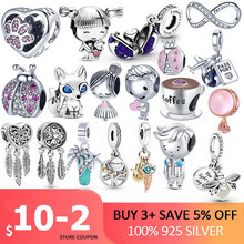 100% 925 Sterling SILVER charms Paw Footprints Beads Cat  Love Heart Charms fit Original Pan Bracelet silver 925 jewelry