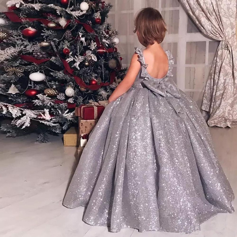 Silver Shiny Flower Girl Dress Sequin Sleeveless Fluffy Little Princess Birthday Party Pageant Gown Holy Communion Girl Dresses