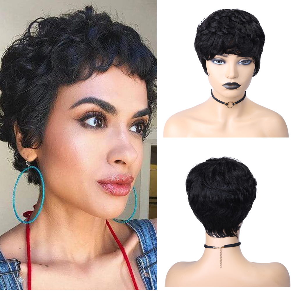Wignee Short Curly Human Hair Wigs With Free Bangs For Black Women Jerry Curl Brazilian Remy Hair Glueless Pixie Cut Human Wigs