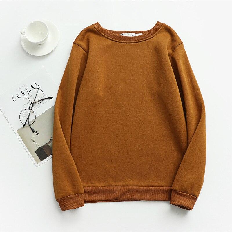 Women Solid Sweatshirts Korean Style Autumn Ladies Student Round Neck Long Sleeve Loose Pullover Tops WDC6301 11